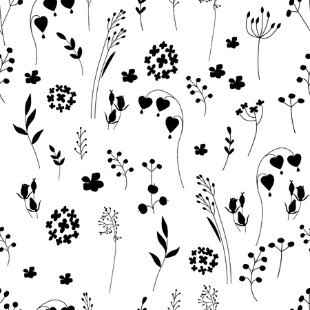 for design: Seamless pretty pattern with stylized flowers and herbs. Black and white. Endless texture for your design, announcements, greeting cards, posters, advertisement.