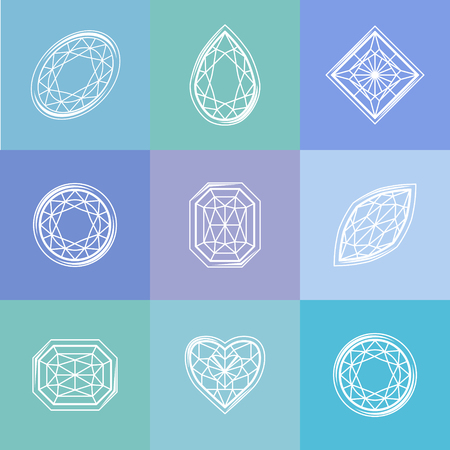 Template with stylized diamond. Blue and white colors, contour. Simple shape. Abstract symbols for your design. Illustration