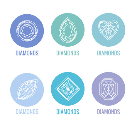 gems: Stylized icons of diamonds. Blue and white colors, contour. Simple shape. Abstract symbols for your design. Illustration