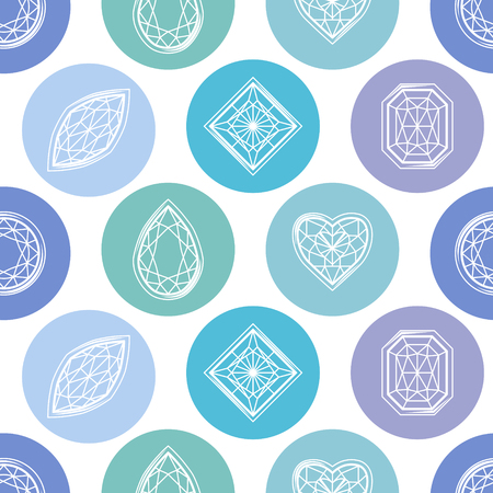 Seamless pattern with contour diamonds. Blue and white color. Endless texture for your design, romantic greeting cards, announcements, fabrics.
