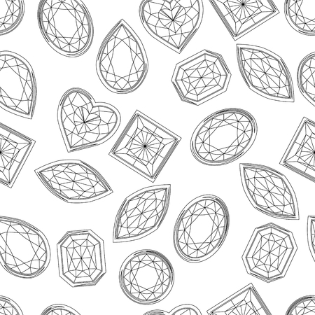 saphire: Seamless pattern with contour diamonds. Blackand white color. Endless texture for your design, romantic greeting cards, announcements, fabrics. Illustration