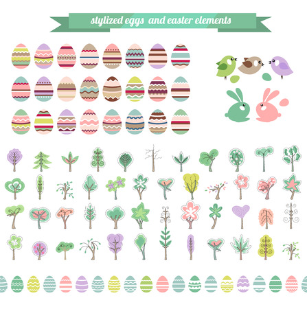 floral objects: Easter eggs and floral elements. Objects for easter design