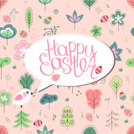 bush babies: Greeting card with phrase Happy easter and spring trees. Template for your festive design, announcements, greeting cards, posters, advertisement. Background is seamless. Illustration
