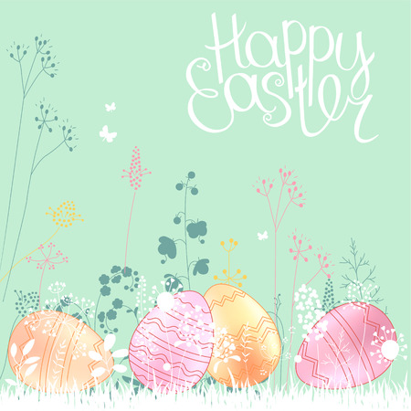 greeting stylized: Floral abstract template with stylized herbs and painted eggs.  .Easter pattern for your design, romantic greeting cards, announcements, posters.