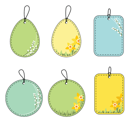 cat s: Set with floral easter tags. Daffodil and pussy willow