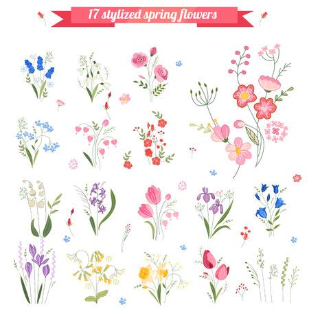 Colección de diferentes flores estilizadas de primavera. cute elementos florales para el diseño, tarjetas de felicitación de Pascua, anuncios, carteles, publicidad. Foto de archivo - 56393129