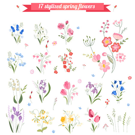 garden flowers: Collection of different stylized spring flowers.  Cute floral elements for your design, easter greeting cards, announcements, posters,advertisement.