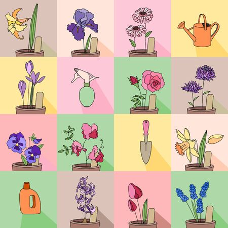 garden patio: Seamless pattern with growing flowers in pots. Endless texture for your design, greeting cards, announcements, posters. Illustration
