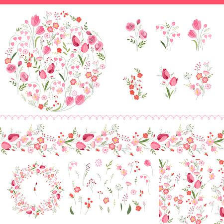 background flower: Floral spring elements with cute bunches of tulips and roses. Endless horizontal  pattern brush. For romantic and easter design, announcements, greeting cards, posters, advertisement.