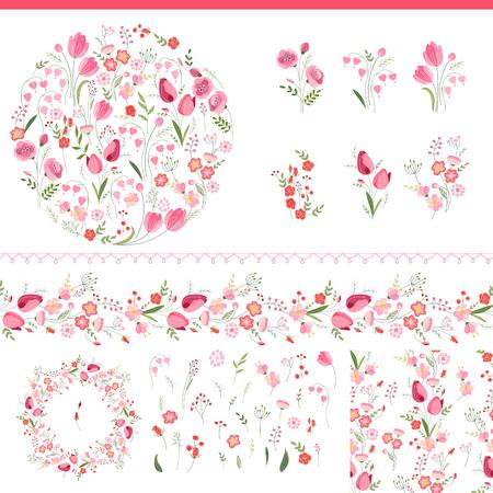 Floral voorjaar elementen met schattige trossen van tulpen en rozen. Eindeloze horizontale patroonborstel. Voor romantisch en Pasen ontwerp, aankondigingen, wenskaarten, posters, advertenties.
