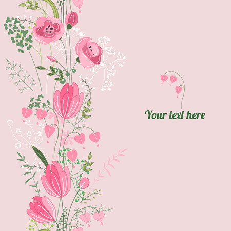 bunch of flowers: Floral spring template. For romantic design