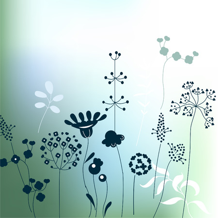 fog forest: Floral abstract template with stylized herbs and plants.  Silhouette of plants. Pattern for your design, romantic greeting cards, announcements, posters.