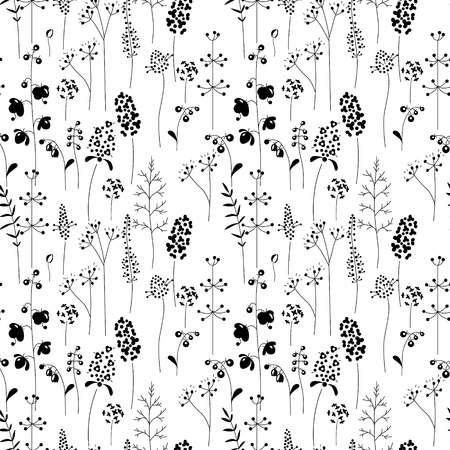 wild herbs: Seamless pattern with stylized herbs and plants.  Black and white silhouette. Endless texture for your design, romantic greeting cards, announcements, fabrics.