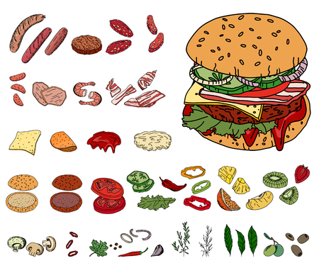 hamburgers: Fresh ingredients - vegetables, cheese, mushrooms, herbs and meat - for burger. Objects isolated on white. For your design, announcements, cards, posters, restaurant and cafe menu. Illustration