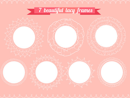 frill: Set with different round frames. Lacy, romantic.  For your design, wedding announcements, greeting cards, valentine day posters.