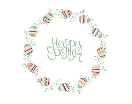 modest: Easter wreath with stylized painted eggs isolated on white. Round frame for your design, greeting cards, announcements, posters.