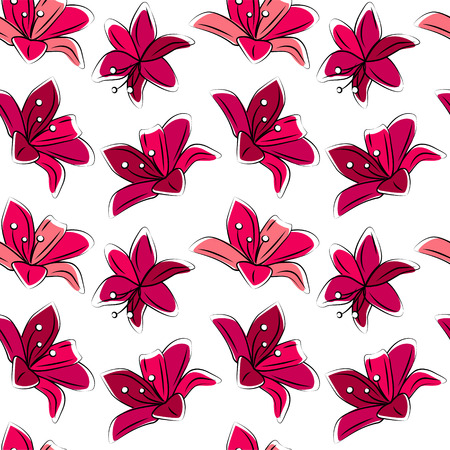 white lilly: Seamless floral pattern with stylized lilies.  Red color. Endless texture for your design, romantic greeting cards, announcements, fabrics.