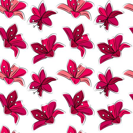 様式化されたユリをシームレス花柄 赤い色。あなたのデザイン、ロマンチックなグリーティング カード、お知らせ、生地の無限のテクスチャです。