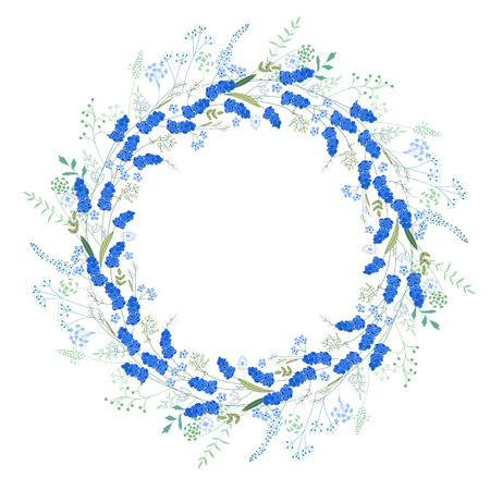 modest: Detailed contour wreath with muscari and herbs isolated on white. Round frame for your design, greeting cards, announcements, posters.