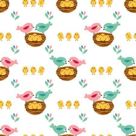fabric pattern: Seamless pretty pattern with stylized birds and nests. Endless texture for your design, announcements, greeting cards, posters, advertisement.