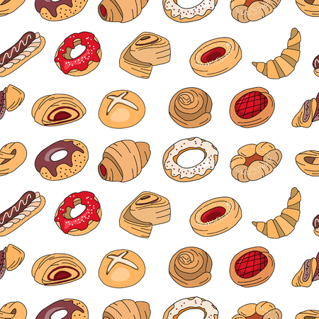 eclair: Seamless pattern with different  pastry. Different taste and color. Illustration