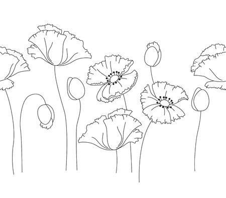 vector, drenaje, imagen, ejemplo, clip, arte, elemento, diseño, estilo, clip-arte, hermoso, amapola, flor, frontera, horizontal, línea, guirnalda, monocromático, simple, contorno, blanco, negro, Papaver, sin fisuras, sin fin, brote, flora, floral, jardín Ilustración de vector