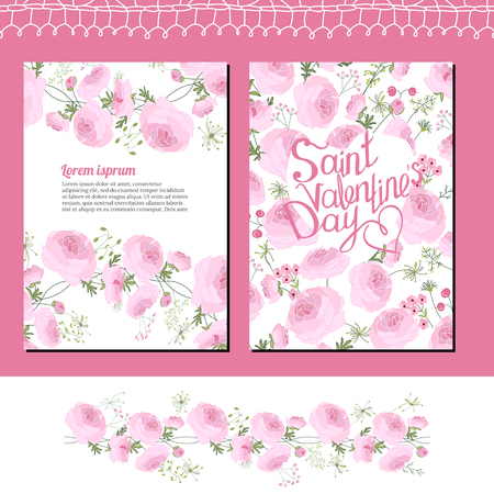 valentine s: Wedding and Valentine s floral templates with pink roses. Endless pattern brush. For romantic design Illustration