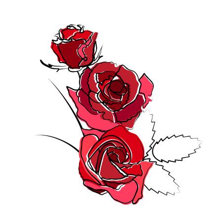 Stilisierte rot auf weißem Hintergrund isoliert Rosen Standard-Bild - 56393213