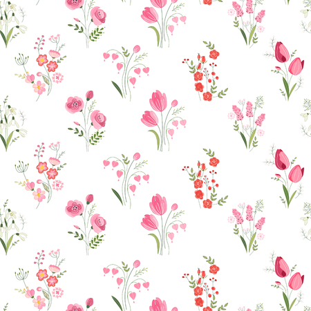 Seamless pattern with stylized cute flowers - roses, tulips and snowdrops.  Endless texture for your design, greeting cards, announcements, posters.