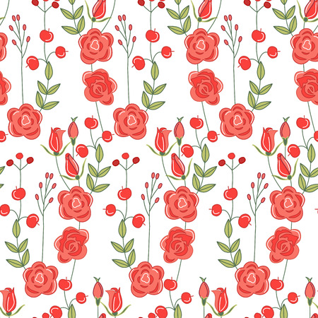 line pattern: Seamless pattern with stylized cute red roses.  Endless texture for your design, greeting cards, announcements, posters. Illustration