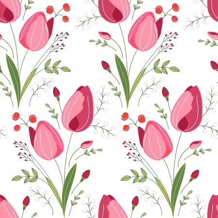 endlos: Nahtlose Muster mit stilisierten niedlichen roten Tulpen. Endlose Textur für Ihr Design, Grußkarten, Ankündigungen, Plakate.