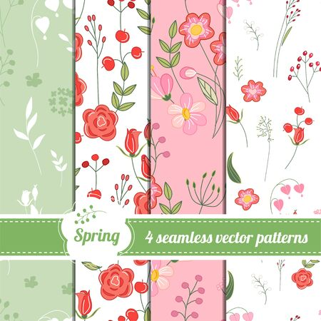 modest: Collection of seamless patterns with stylized cute roses and wild flowers. Endless texture for romantic and spring design, announcements, greeting cards, posters, advertisement.