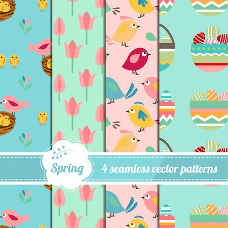 Colección de patrones sin fisuras con estilizados lindos árboles, huevos y aves. textura de Pascua sin fin para su diseño, anuncios, tarjetas de felicitación, carteles, publicidad.