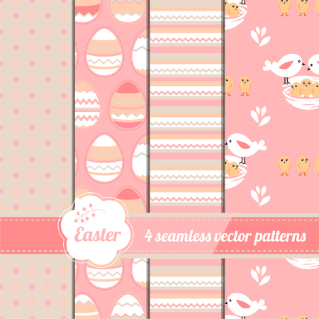 Collection of easter seamless patterns with stylized cute eggs and birds. Illustration