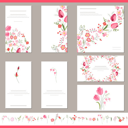 Floral spring templates with cute bunches of red tulips. Endless horizontal pattern brush. For romantic and easter design, announcements, greeting cards, posters, advertisement. Vettoriali