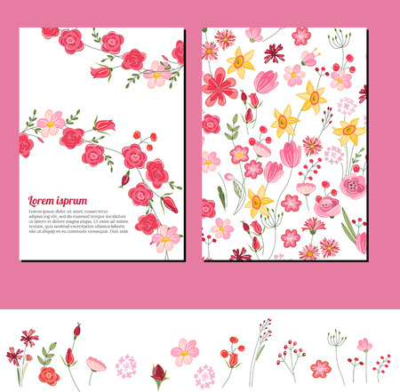 pink rose: Floral summer templates. For romantic design, announcements, postcards, posters. Illustration