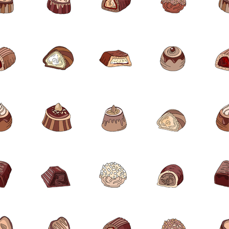sweetmeats: Seamless pattern with different kinds of chocolate candies - milk,dark,white chocolate. Objects on white. Endless texture for your design, announcements, cards, posters, restaurant menu.