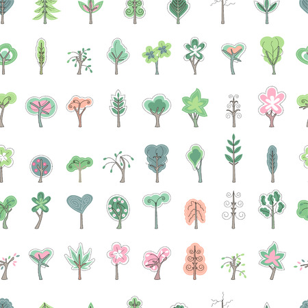 bush babies: Seamless pretty pattern with stylized cute trees. Endless texture for your design, announcements, greeting cards, posters, advertisement.