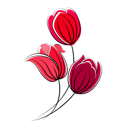 Stylized red tulips isolated on white.