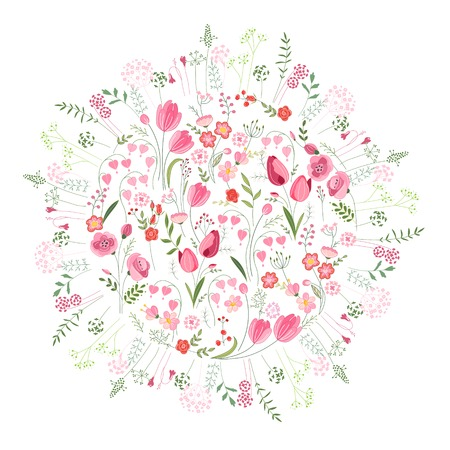 Floral spring template with cute bunches of tulips.