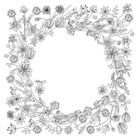decorative frames: Contour wreath with stylized blossoming branches isolated on white. Black and white color. Round frame for your design, greeting cards, wedding announcements, posters. Illustration