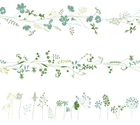 floral objects: Floral endless pattern brushes made of  different plants.  Herbs for romantic design, decoration,  greeting cards, posters, wedding invitations, advertisement. Objects on white. Illustration