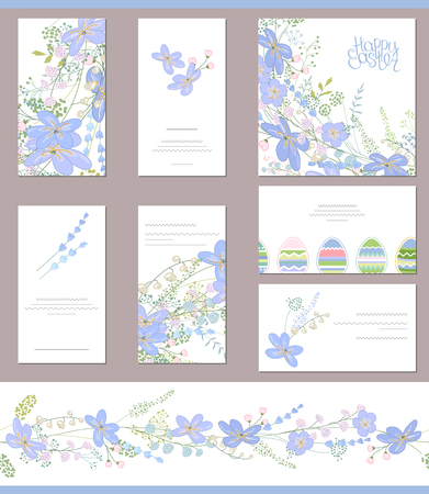 hepatica: Floral spring templates with cute blue flowers. For romantic  easter design, announcements, greeting cards, posters, advertisement.