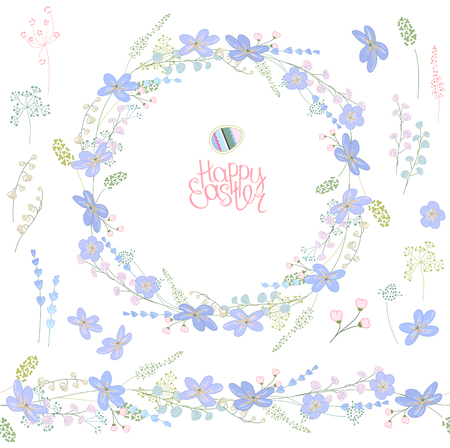 Spring elements with contour blue flowers and herbs. Template for your design, greeting cards, festive announcements, posters.