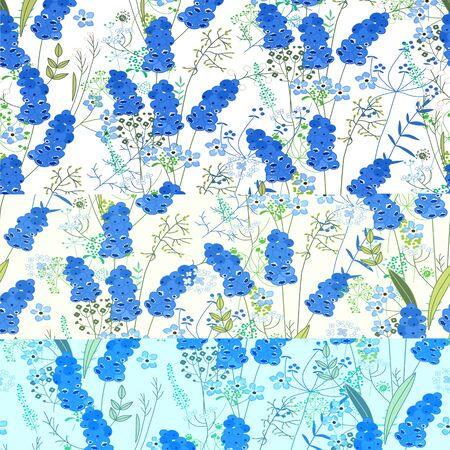 modest: Seamless pattern with stylized cute blue muscari.  Endless texture for your design, greeting cards, announcements, posters.
