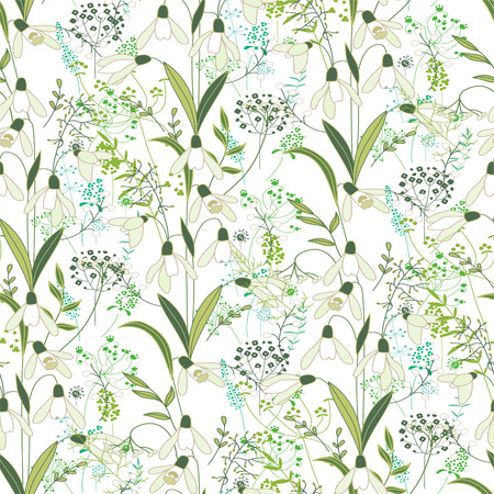 modest: Seamless pattern with stylized cute white snowdrops.  Endless texture for your design, greeting cards, announcements, posters.