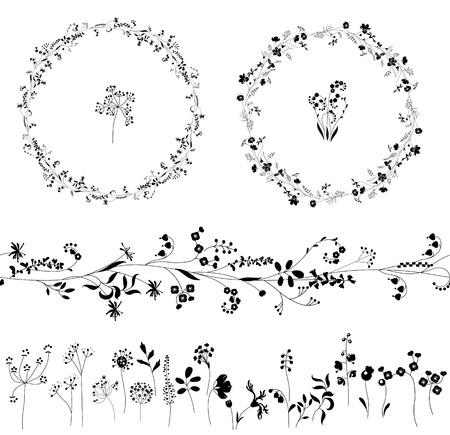 다른 식물로 만든 꽃 끝없는 패턴 브러시. 낭만적 인 디자인, 장식, 인사말 카드, 포스터, 청첩장, 광고 꽃. 라운드 프레임