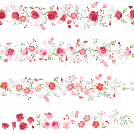 Endless horizontal borders with cute red and pink roses. Seamless pattern brushes. For romantic and wedding design, announcements, greeting cards, posters, advertisement. Vectores