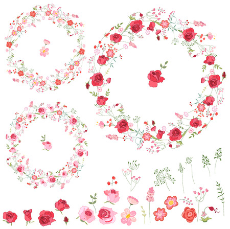 floral objects: Floral spring elements with cute red and pink roses. Round frames, isolated objects. For romantic and wedding design, announcements, greeting cards, posters, advertisement.