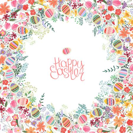 Pasen frame met contour bloemen en eieren. Sjabloon voor uw ontwerp, wenskaarten, feestelijke aankondigingen, posters.